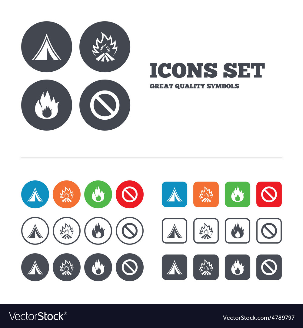 Tourist camping tent sign fire flame icons vector | Price: 1 Credit (USD $1)