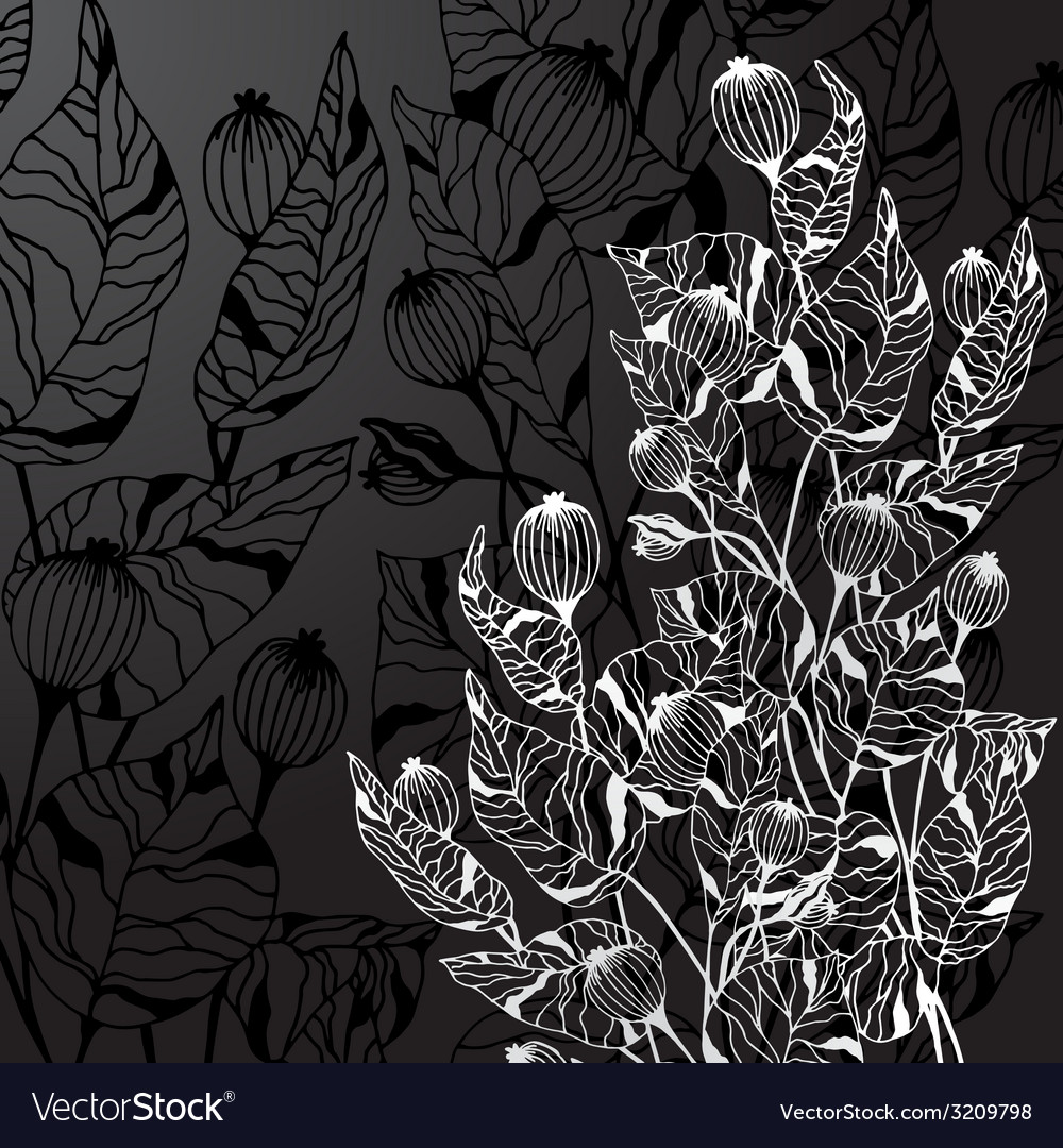Black background with decorative abstract flowers vector | Price: 1 Credit (USD $1)
