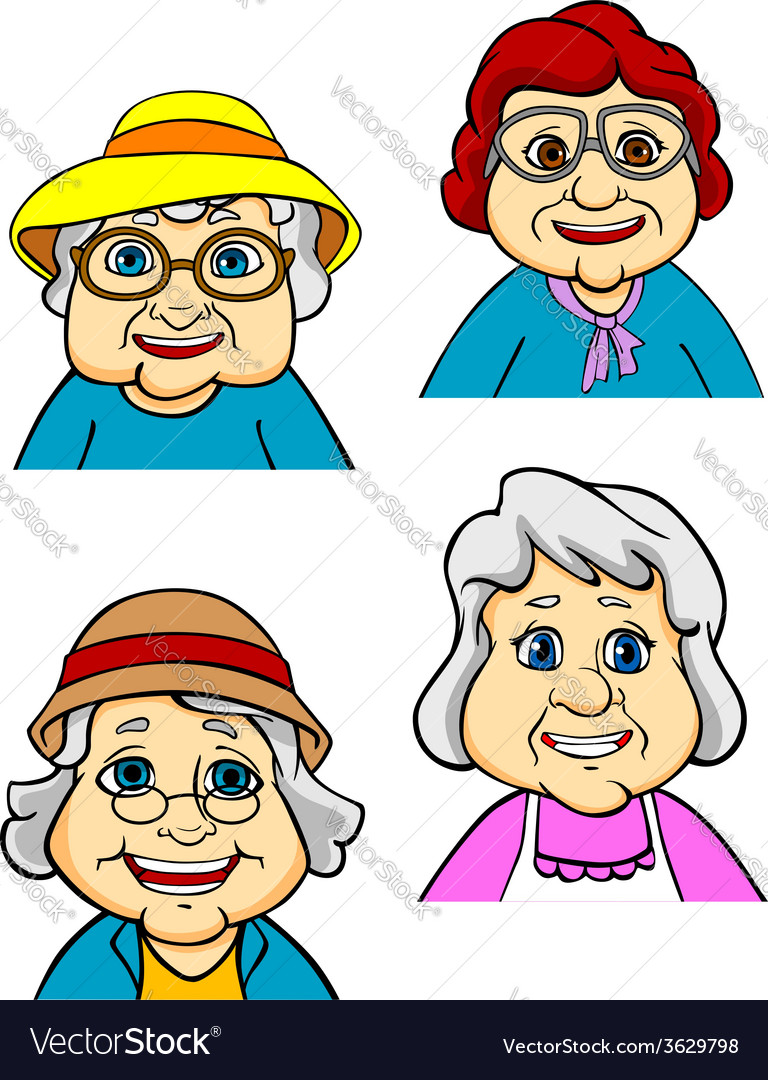 Cartoon happy old women and seniors vector | Price: 1 Credit (USD $1)