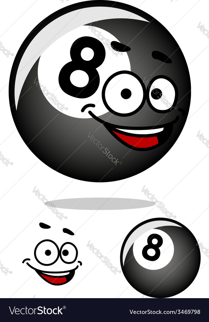 Cartooned eight pool ball with happy face vector | Price: 1 Credit (USD $1)