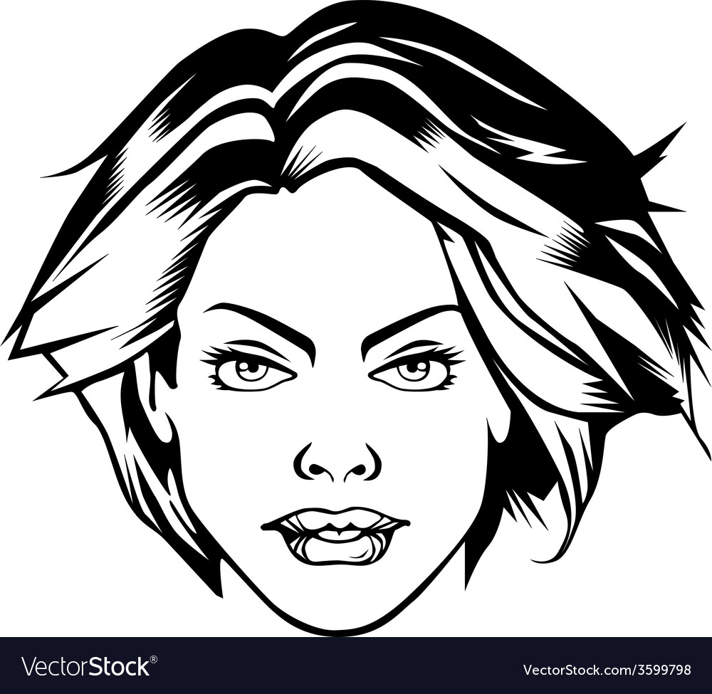 Comic heroine girl face sexy female vector | Price: 1 Credit (USD $1)