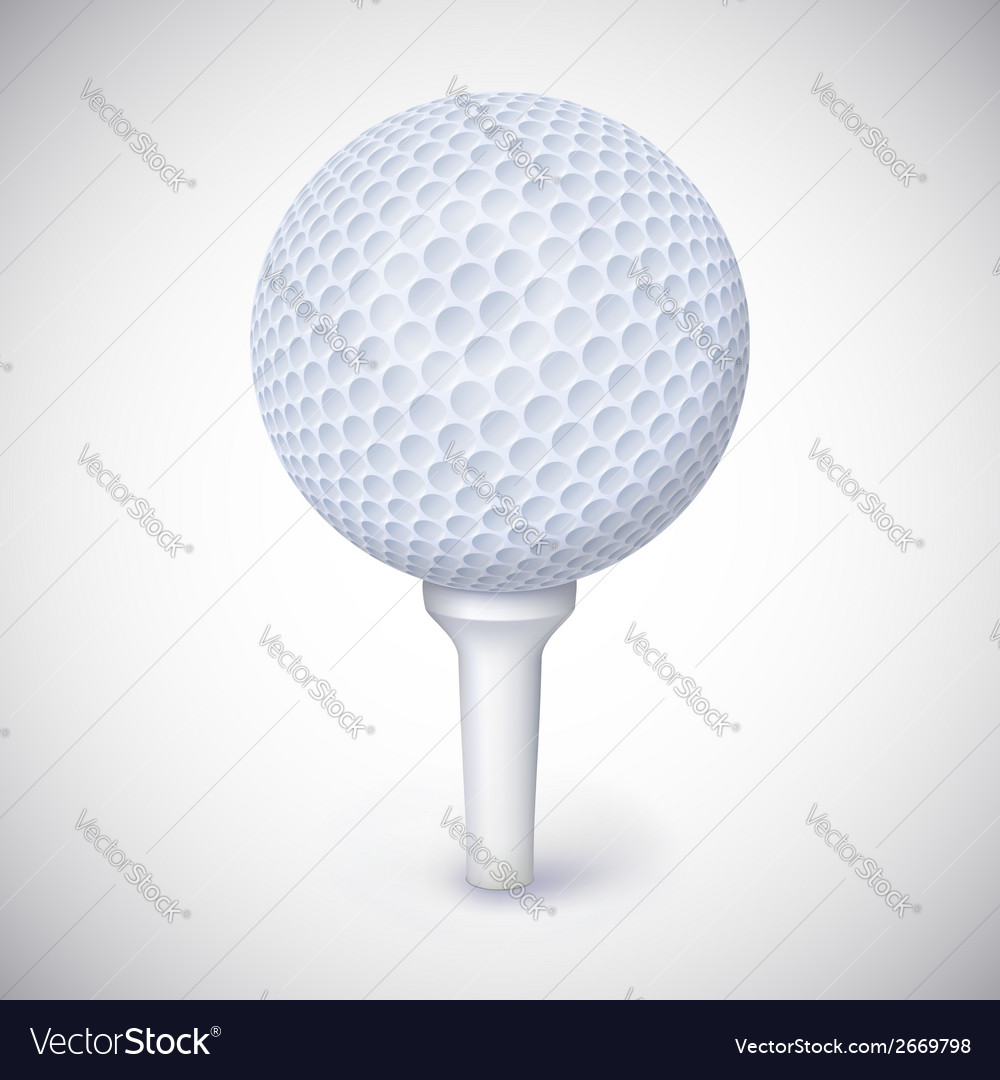 Golf ball on white tee vector | Price: 1 Credit (USD $1)