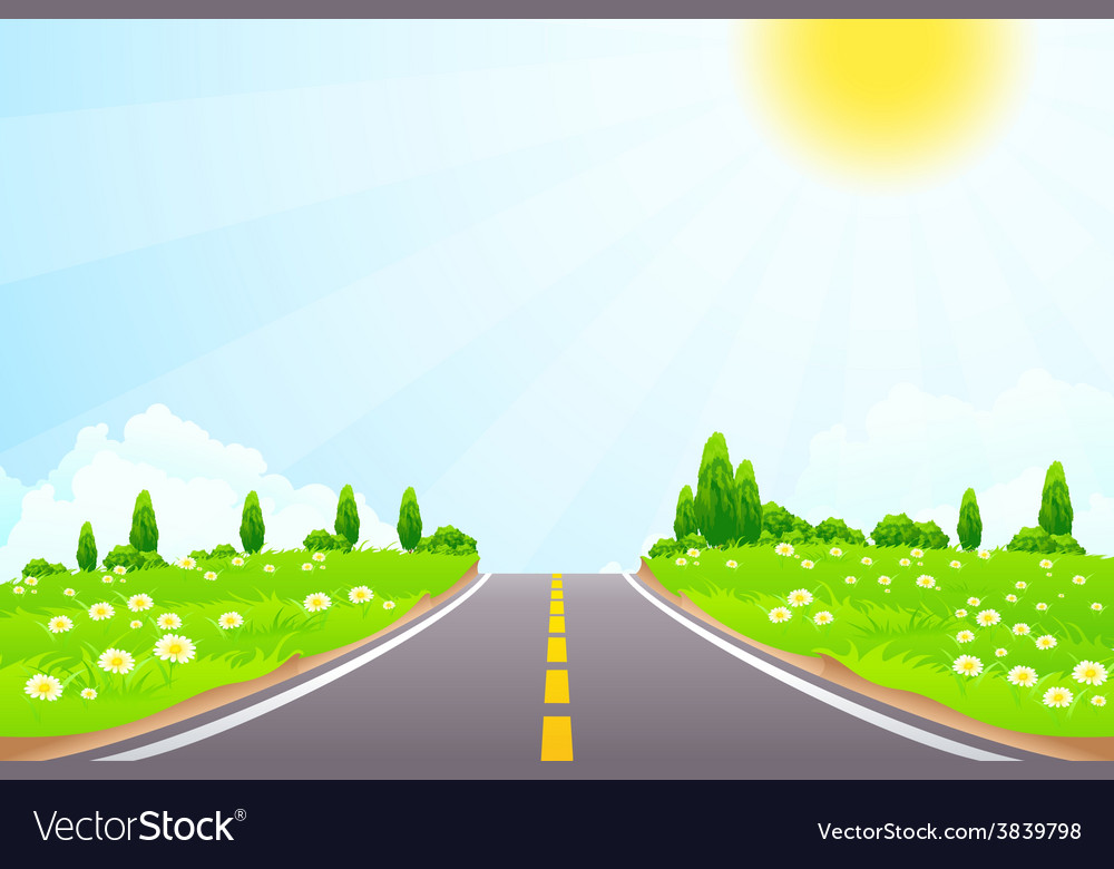 Green landscape with trees clouds flowers and road vector | Price: 3 Credit (USD $3)