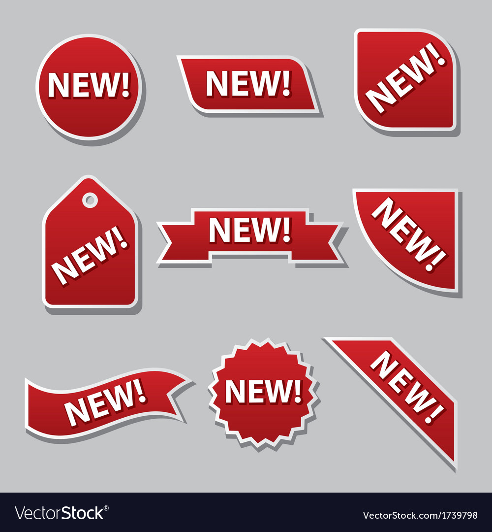New badges flat red vector | Price: 1 Credit (USD $1)