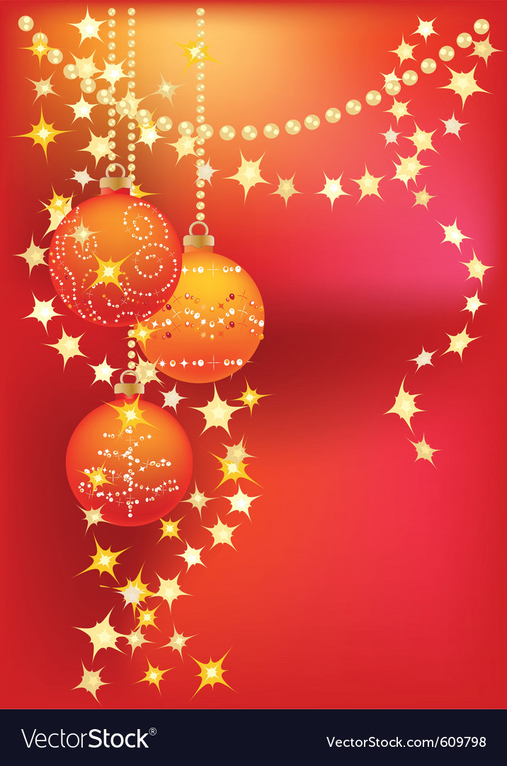 Red christmas background with christmas tree balls vector | Price: 1 Credit (USD $1)