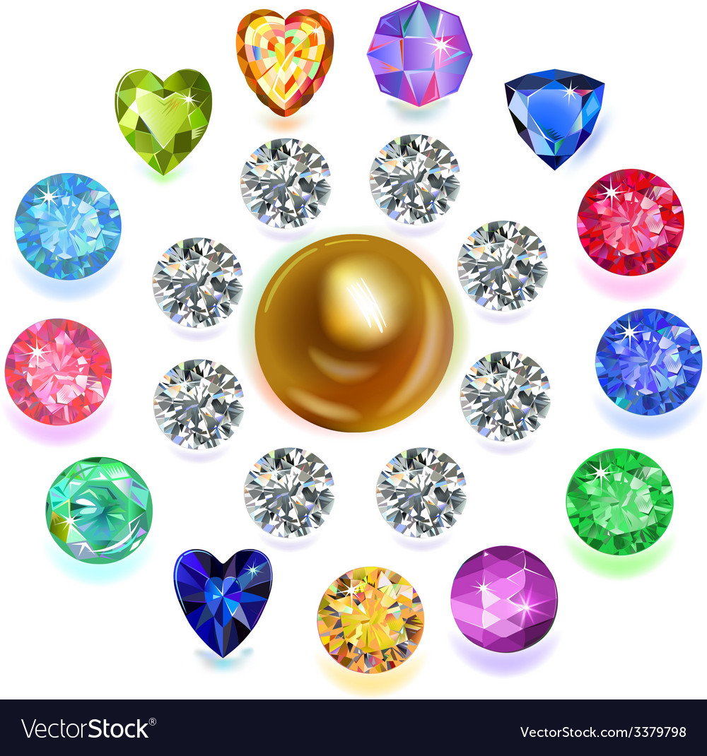 Round composition colored gems set vector | Price: 3 Credit (USD $3)