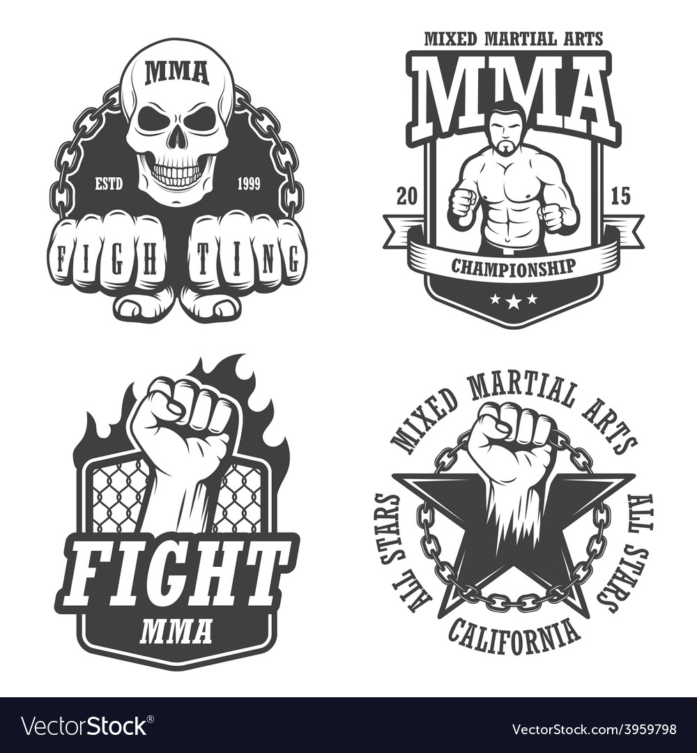 Set of four mma emblems vector | Price: 1 Credit (USD $1)