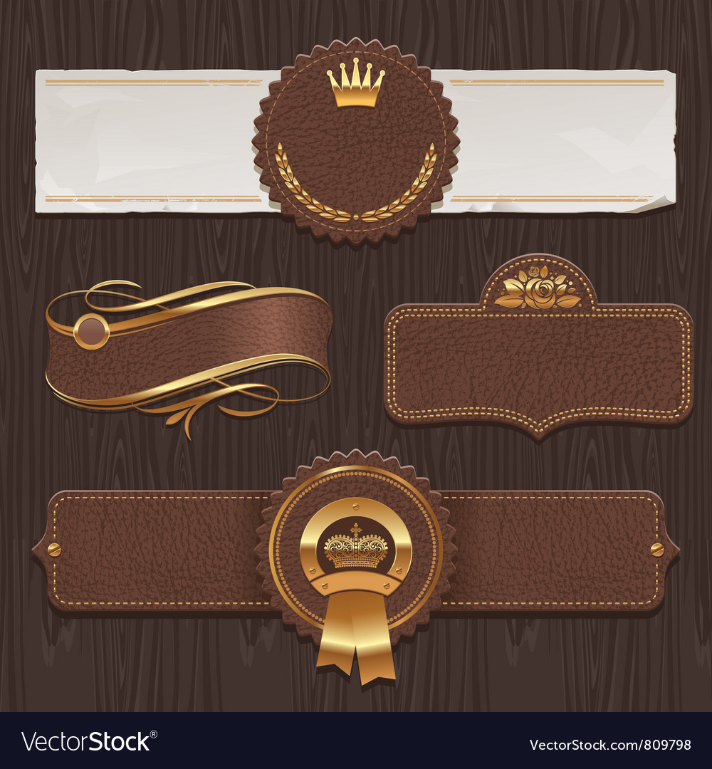 Set of leather golden framed labels vector | Price: 3 Credit (USD $3)