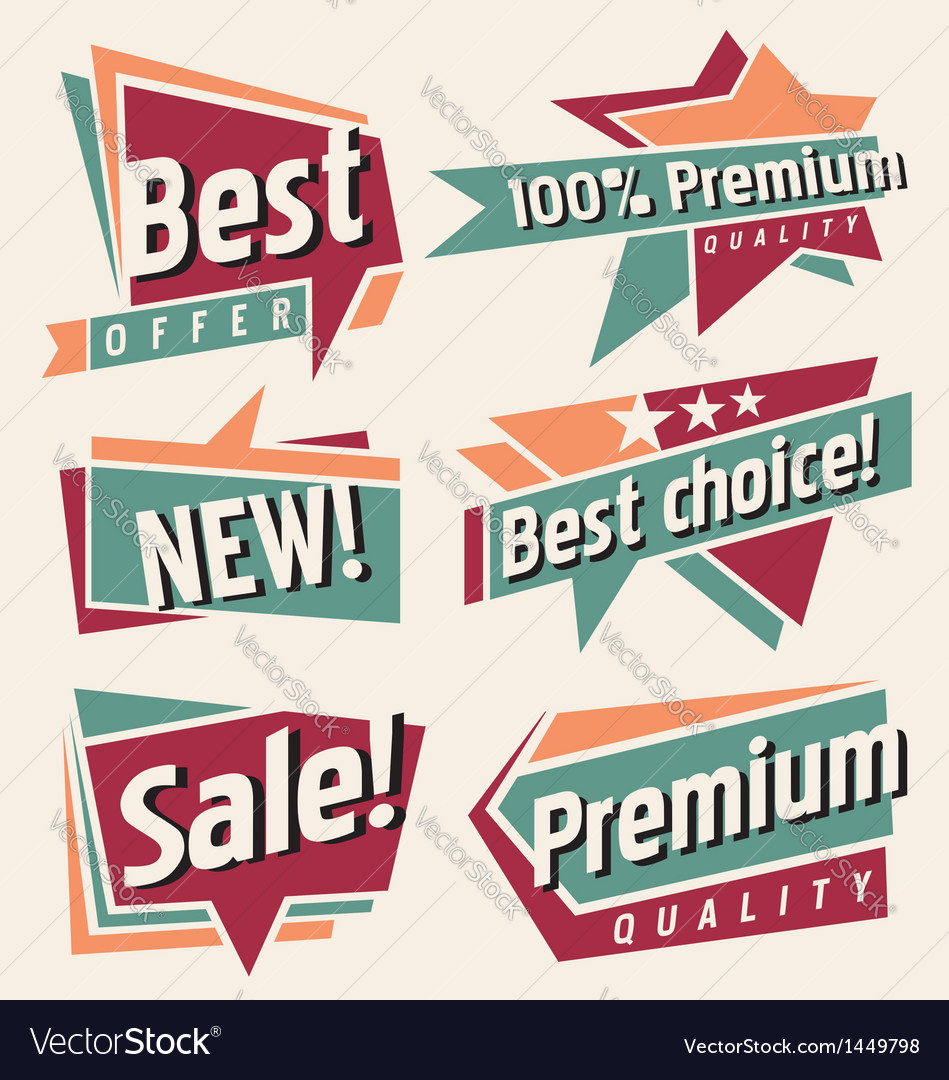 Set of retro promotional labels vector | Price: 1 Credit (USD $1)