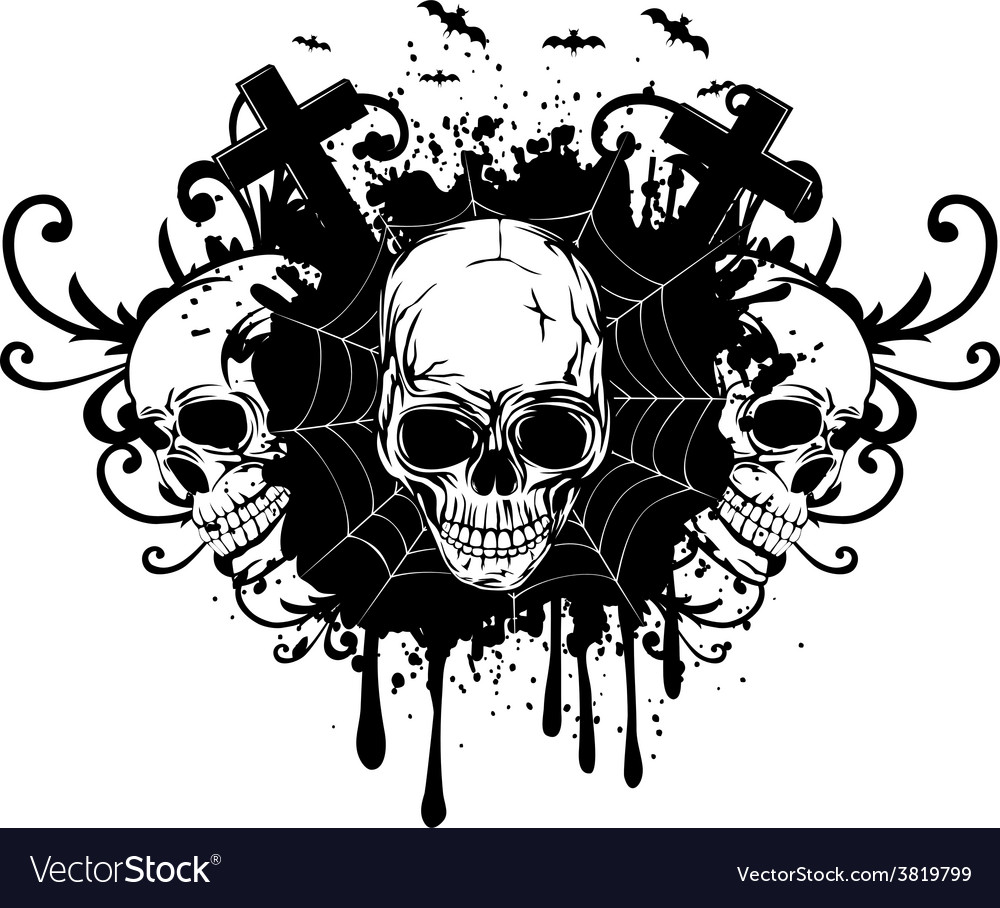 Abstract background and three skulls vector | Price: 1 Credit (USD $1)