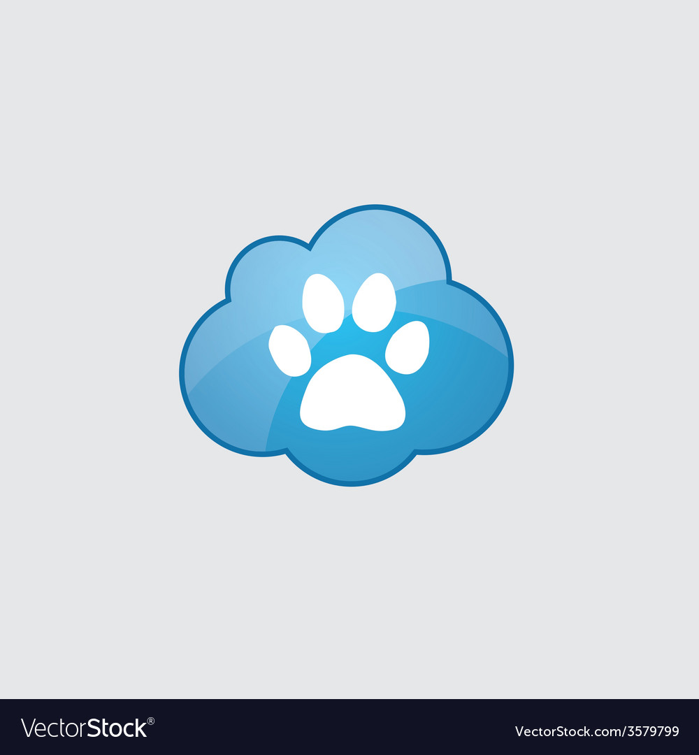Blue cloud cat footprint vector | Price: 1 Credit (USD $1)