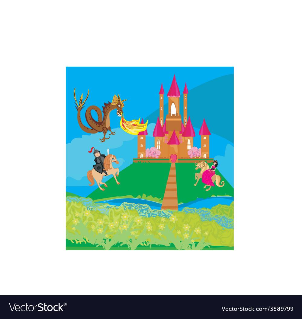 Dragon attacks the castle vector | Price: 1 Credit (USD $1)