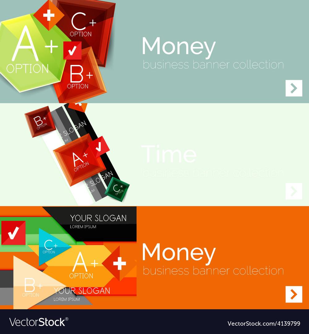 Flat design paper infographic banner set vector | Price: 1 Credit (USD $1)