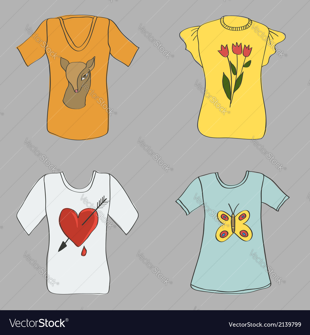 Hand drawing women t-shirts with print vector | Price: 1 Credit (USD $1)