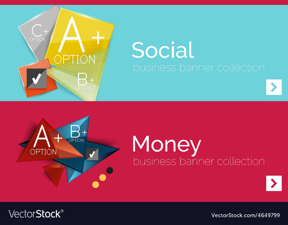 Infographic flat design banner with geometric vector | Price: 1 Credit (USD $1)