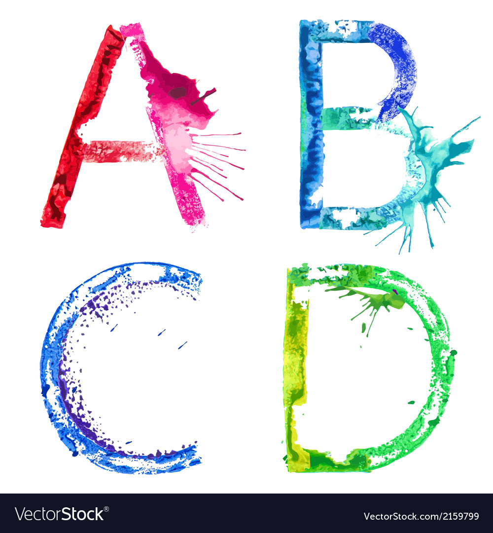 Paint splash font abcd vector | Price: 1 Credit (USD $1)