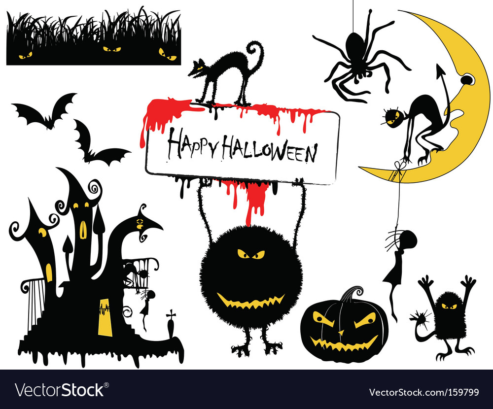 Set of halloween objects vector | Price: 1 Credit (USD $1)