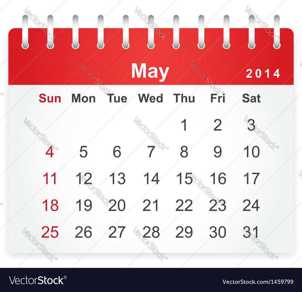 Stylish calendar page for may 2014 vector | Price: 1 Credit (USD $1)