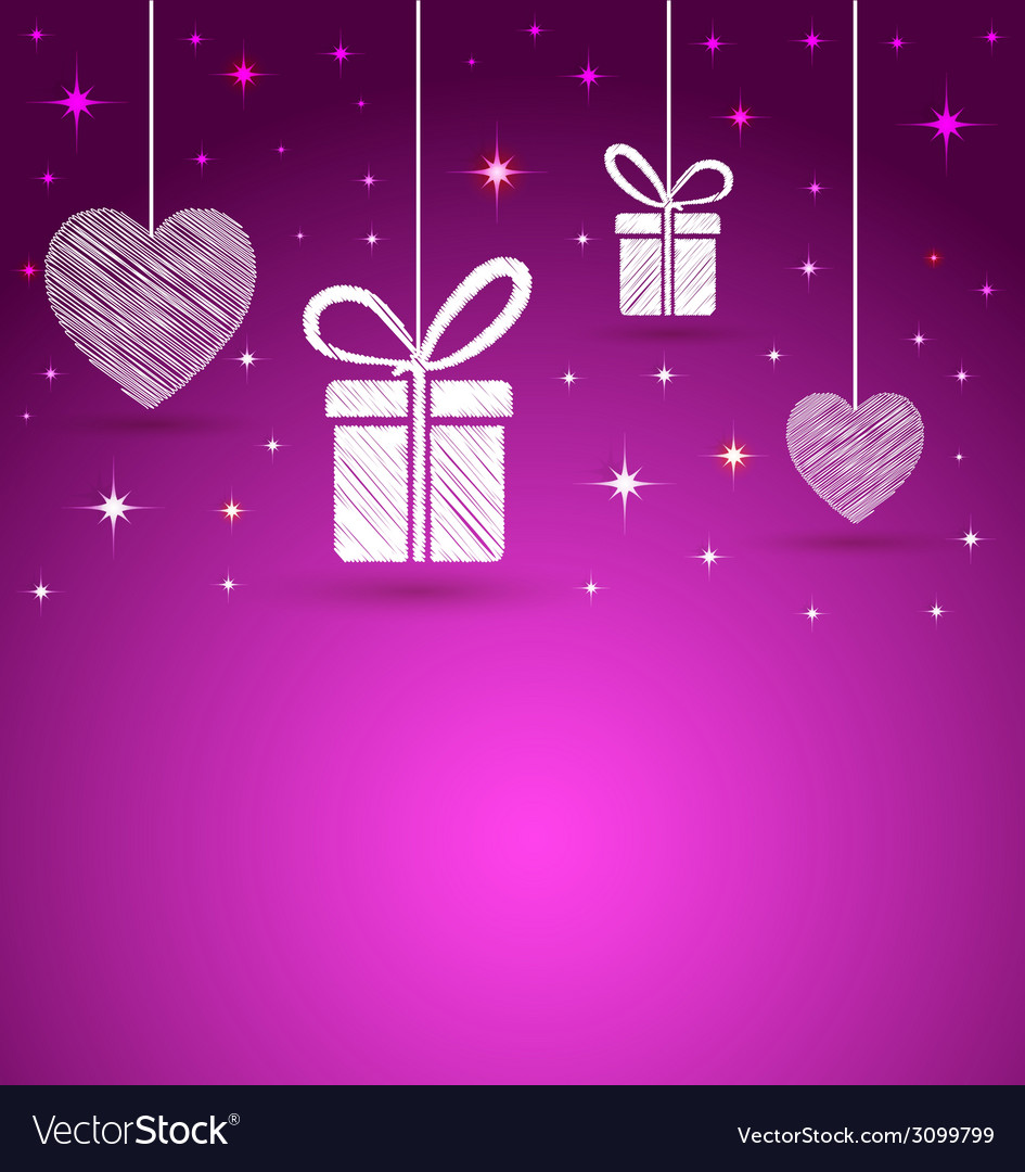 Trendy hearts and gift box shape greeting card vector | Price: 1 Credit (USD $1)