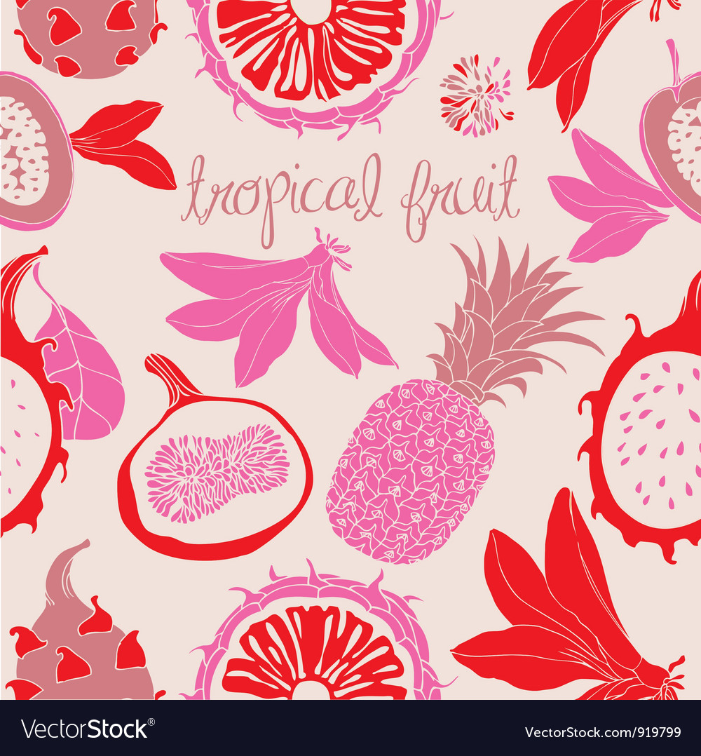 Tropical fruit pattern vector | Price: 1 Credit (USD $1)