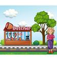 An old woman near the butcher house vector