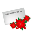 Lovely red poinsettia flowers with cyber monday vector