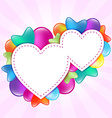 Paper hearts with colored balloons vector