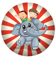 Two kids riding at the back of a gray elephant vector