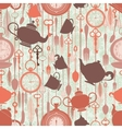 Vintage seamless pattern with tea theme vector