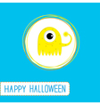 Cute cartoon yellow monster blue background vector