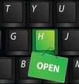 Keyboard with green open sign vector