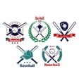 Baseball sporting heraldic emblems vector