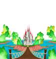Fantasy landscape with castle white sky vector