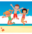 Funny children on the beach vector