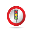 Traffic light icon in red circle vector