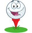 Happy golf ball cartoon character over tee vector