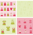 Seamless background collection - baby girl dress vector