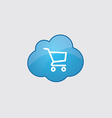 Blue shopping cart icon vector