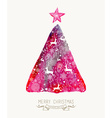 Merry christmas pine tree watercolor greeting card vector
