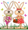 Easter bunny and eggs vector