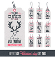Vintage valentines day gift tags vector