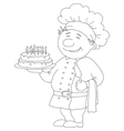 Cook with cake contour vector