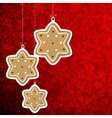 Christmas background with gingerbread stars vector
