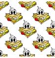 Happy cartoon cheese sandwich seamless pattern vector