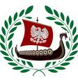 Ancient ship and laurel wreath vector