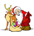 Santa claus with reindeer carrying sack f vector