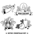 Christmas icons black and white set vector