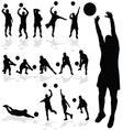 Volleyball player black silhouette in various vector