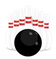 Bowling pins and black ball vector