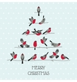 Retro christmas card - birds on christmas tree vector